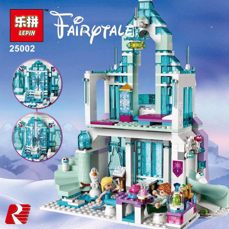 lepin 25002 Model building kits compatible with legoe city Elsa`s Magical Ice Castle 3D blocks Educational toys hobbies for girl