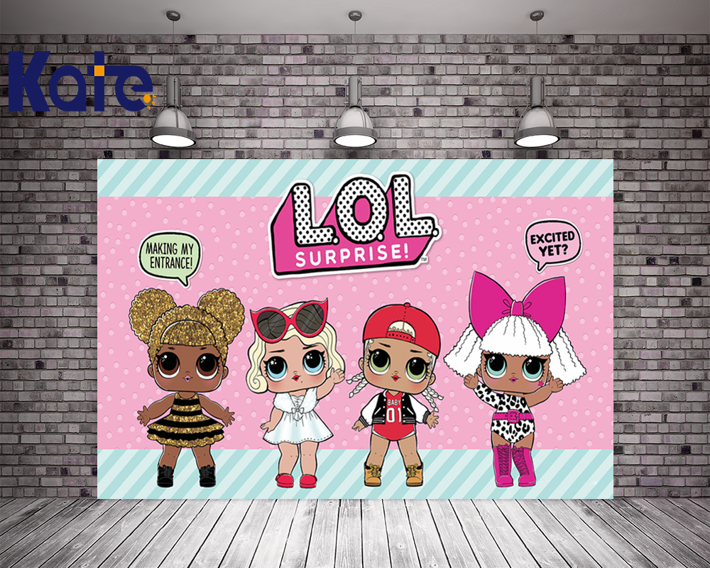 KATE 5x7ft Photo Background Cartoon Lol Dolls for Kids Birthday Pink Children Photocall Birthday for Baby Photo StudioKATE 5x7ft Photo Background Cartoon Lol Dolls for Kids Birthday Pink Children Photocall Birthday for Baby Photo Studio