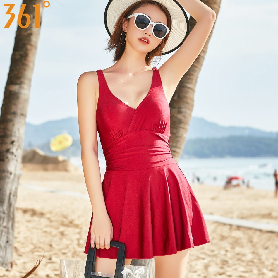 361 One Piece Bathing Suit Plus Size Tummy Control Women Swim Suit with Skirt Female Swimming Dress Beachwear Girls Swimwear