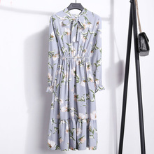 Fashion Spring Autumn Long Sleeve Dress Women Chiffon Floral Dress Casual Slim Print Bow Tie Neck Dresses Elastic Waist Tunic contrast trim floral print tie waist dress