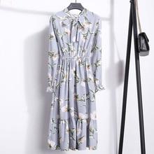 цены на Fashion Spring Autumn Long Sleeve Dress Women Chiffon Floral Dress Casual Slim Print Bow Tie Neck Dresses Elastic Waist Tunic в интернет-магазинах
