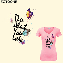 ZOTOONE Butterfly Patches for Clothes Iron on Transfer Applique Letter DIY Accessory Heat Vinyl Stickers