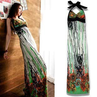 Free shipping 2014 new arrival fashion sexy  women's one-piece dress printed flowers long dress D056