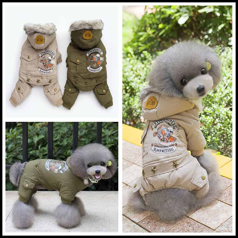 New Fashion Pet Dog Costume Pet Winter Parkas Clothes for Small Dogs Khaki Green Chihuahua Yorkies Jumpsuit Apparel S M L XL XXL1