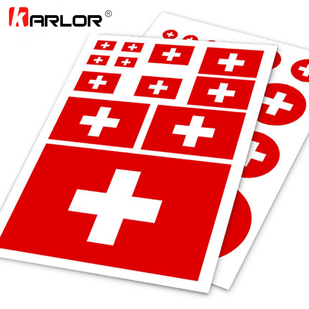 Swiss Flag Switzerland Ho Car Auto Motorcycle Logo Decal Set Sticker Scratch Off Cover Ipad Notebook Laptop Handy Car Styling(China)
