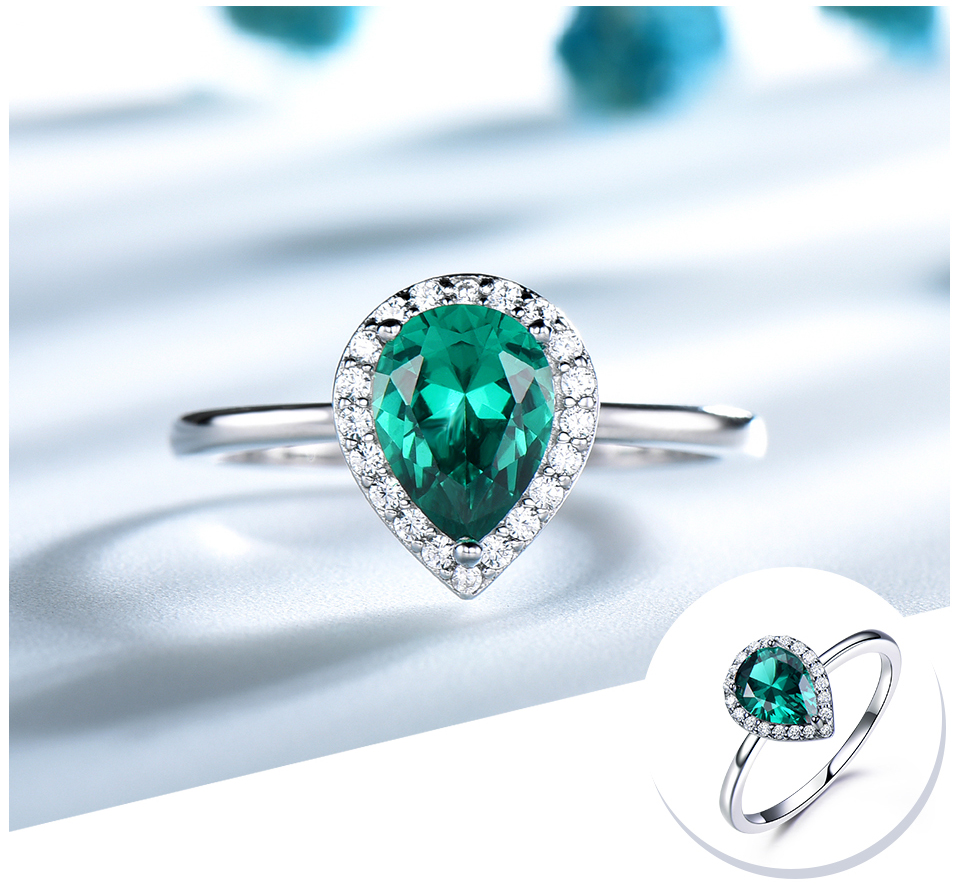 UMCHO Emerald 925 sterling silver rings for women RUJ046E-1-pc (4)