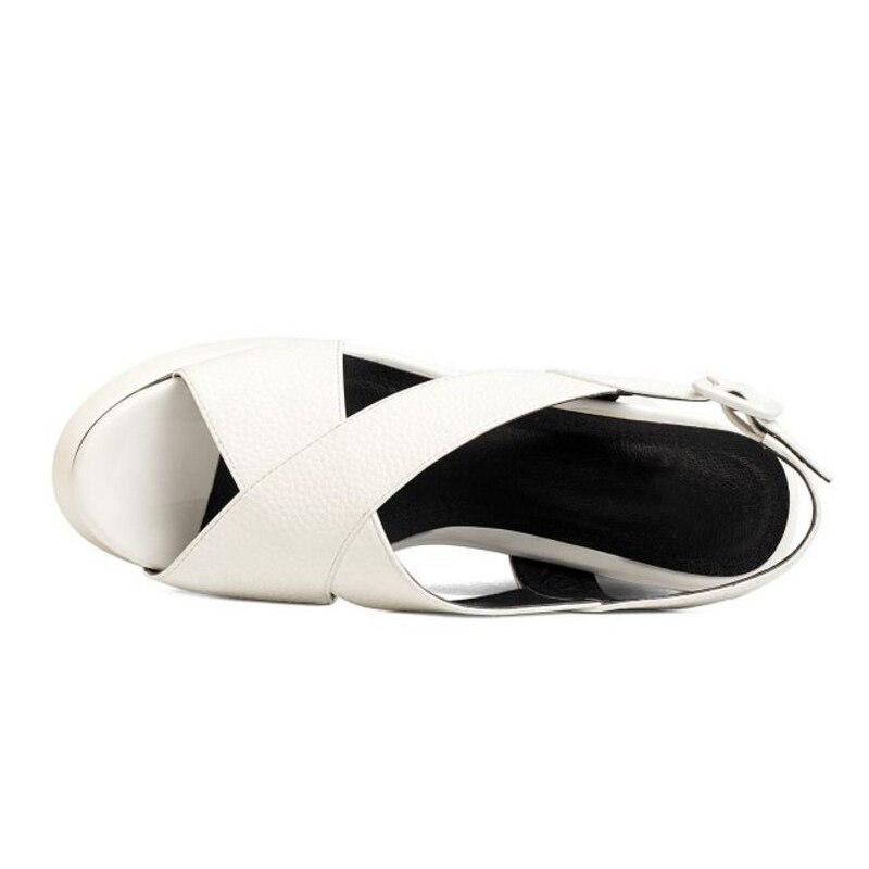 De Las Tamaño Punta Sandalias Calzado 34 Del Alto Taoffen Moda Talón Mujeres blanco Plataforma Fiesta Hebilla 39 Negro Señoras Zapatos Abierta Verano qIt0T