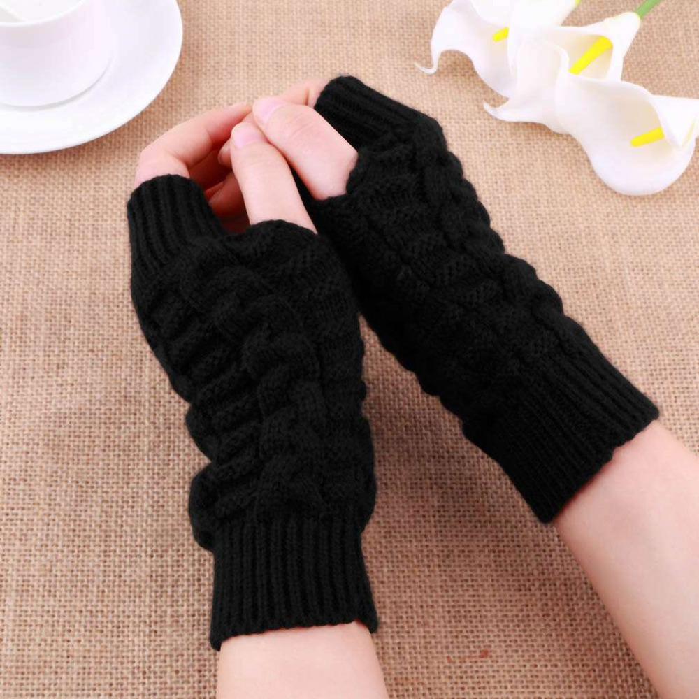 Back To Search Resultsapparel Accessories Womail Gloves Women Men Autumn Black Knitted Stretch Elastic Warm Half Finger Fingerless Gloves Femal Mittens Feb 2