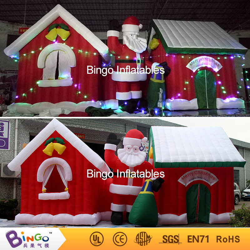 Giant Outdoor Yard Decoration Christmas Inflatable Santa House and Santa Claus 9*4 Meters Inflatable Christmas House Village santa claus printed christmas sweatshirt