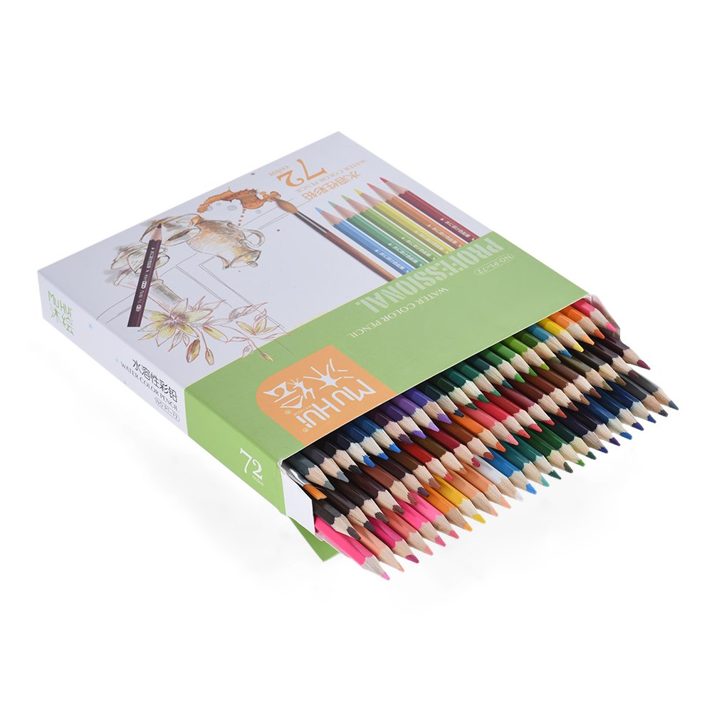 72 color Pencil Premium pre-sharpened water soluble water crayons Set with brush for adult children artist art drawing writing72 color Pencil Premium pre-sharpened water soluble water crayons Set with brush for adult children artist art drawing writing