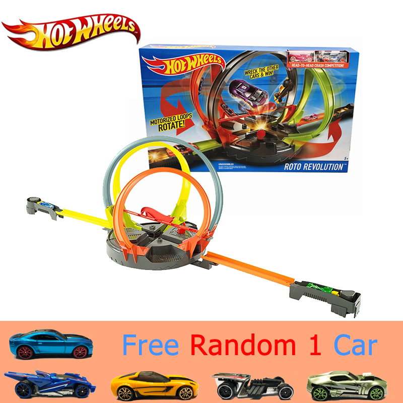Original Hot Wheels Car Toys Roto Revolution Track Set Fast Racing Metal Cars Plastic Track Safe Toy Carro de brinquedo FDF26