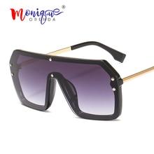 Oversized rimless sunglasses women new 2019 retro rivet one