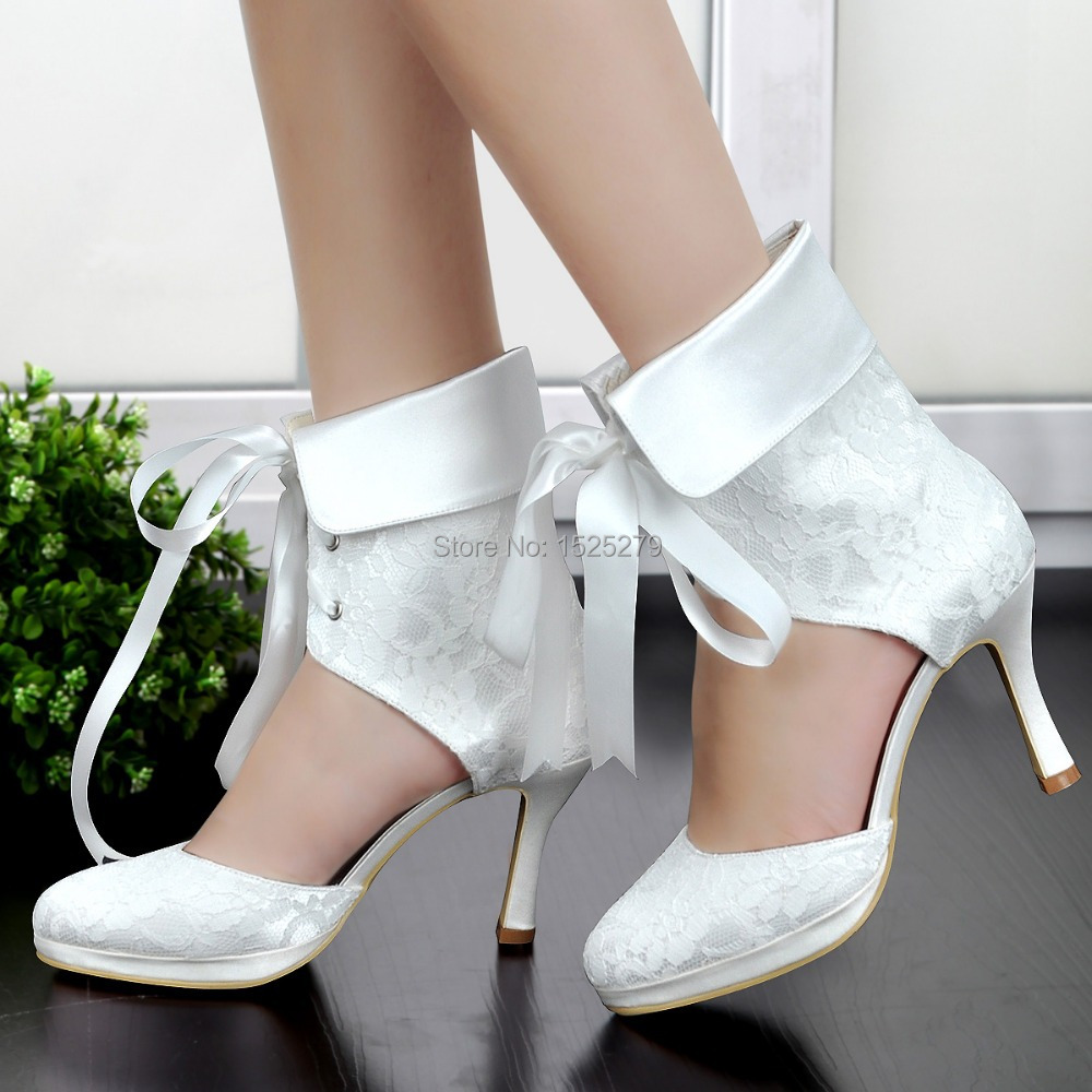 ФОТО EP11055C-PF Women Bride Ivory White Cutouts Wedding Party Round Toe Ribbon High Heel Lace-up Satin Platform Lace Bridal Boots