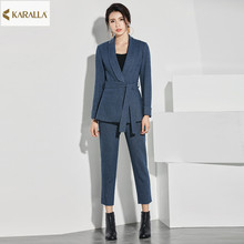 High quality 2016 women spring runeway fashion solid prints full sleeve sashes coat+mid-calf pants two pcs formal outfit D0456