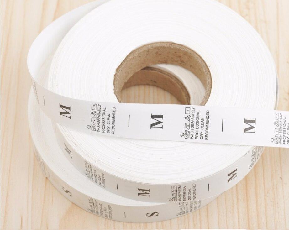 1000 шт/рулон, белая XS-XXL, этикетка для стирки одежды, ярлык для одежды, ярлык для стирки, нейлоновая тафта, LB-023