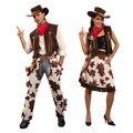Новый Хеллоуин Костюм для Взрослых Мужчин Женщины Косплей Западных Мужчин Костюм Ковбоя Пастушка Костюм Карнавал Dress Up Одежда