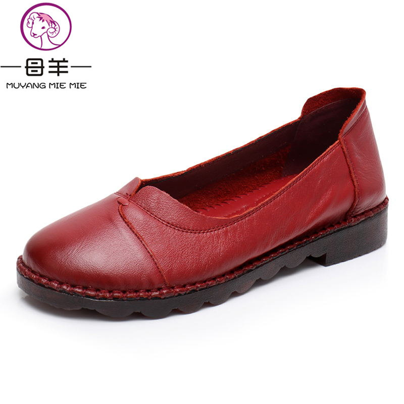 MUYANG MIE MIE Spring And Autumn Genuine Leather Flat Shoes Women Shoes Mother Driving Shoes Female Moccasins Women Flats 2016 spring and autumn women s shoes female flat heel maternity shoes genuine leather shoes flats for women