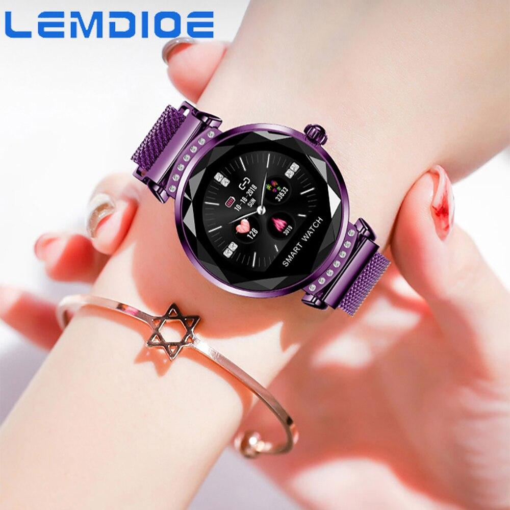 LEMDIOE H2 Смарт-часы Для женщин Фитнес трекер Водонепроницаемый Смарт Браслет мониторинга сердечного ритма Спорт Bluetooth для IOS и Android