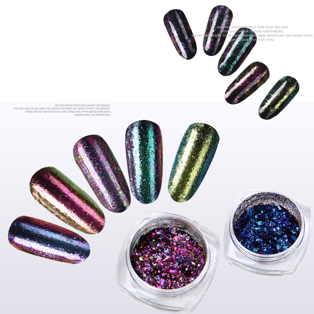 Chameleon Nail Glitter Powder Halo Nail Flakes Mirror Grinding Dust ...