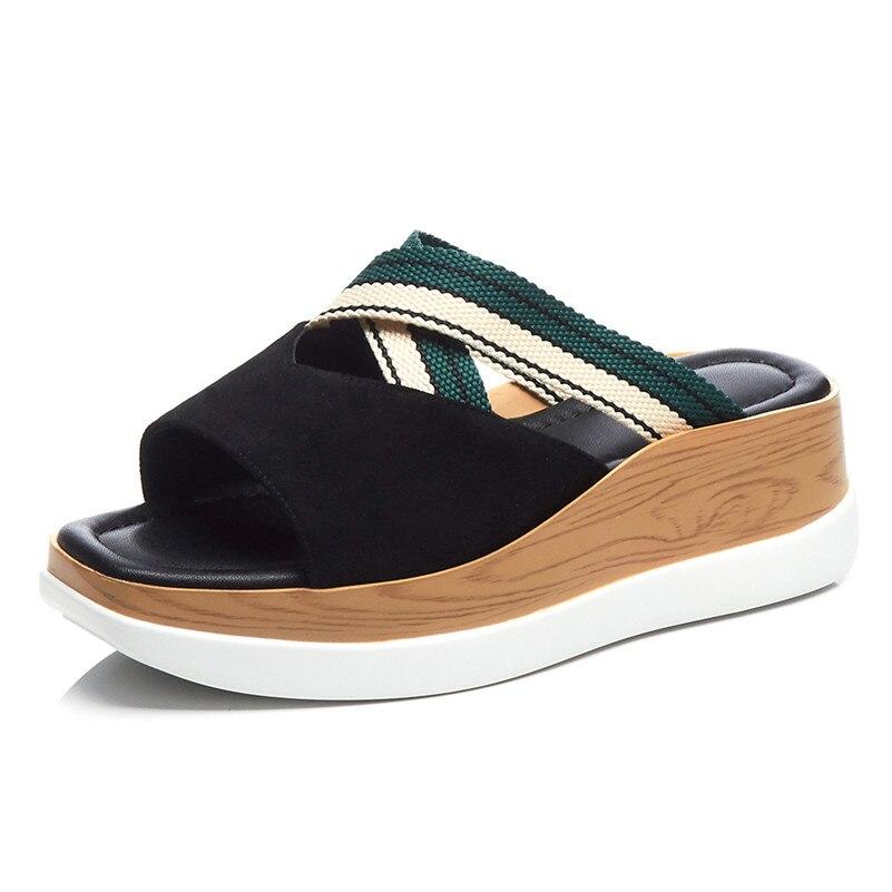 FEDONAS ฤดูร้อนแฟชั่นหนังนิ่มผู้หญิงรองเท้าแตะสบายๆสบายๆรองเท้าผู้หญิงรอบ Toe รองเท้าสตรี 2019 รองเท้าแตะใหม่-ใน รองเท้าส้นสูง จาก รองเท้า บน   2