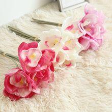 6 Heads Real Touch PU Cymbidium Artificial Orchids Magnolias Bouquet Fake Flowers DIY Wedding Bride Hand Home Decor