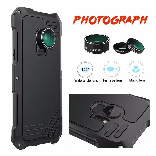 R just case For samsung galaxy S9 S9 PLUS Luxury doom armor Dirt Shock 3proof Metal Aluminum mobile phone cases with camera Lens