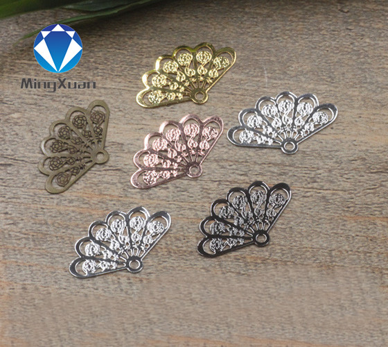 MINGXUAN 20pcs 14*23mm Vintage Style 7 Colors Copper Fan Shape Filigree Hollow Charms Jewelry DIY Components