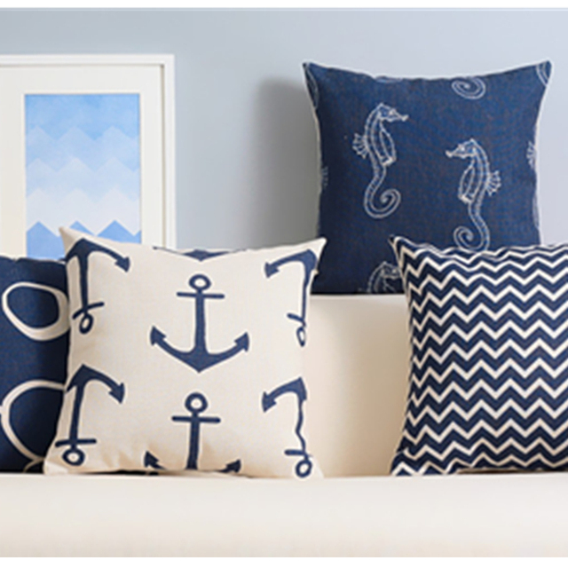 Mediterranean Style Cushion Elegant Navy Blue Chair Cushion American  Geometric Abstract Cushions Kussenhoes