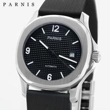 Parnis Marque Haut Montre De Luxe Hommes Mécanique Montres Cadran Noir relogio masculino En Caoutchouc Automatique Montre Heure Horloge