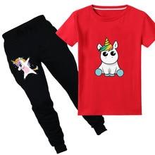 все цены на 2pcs Summer Tops Children T-Shirts Funny Cartoon  Unicorn Print Tees Short Sleeve Girls/Boys T Shirts Baby Casual Kids Clothes