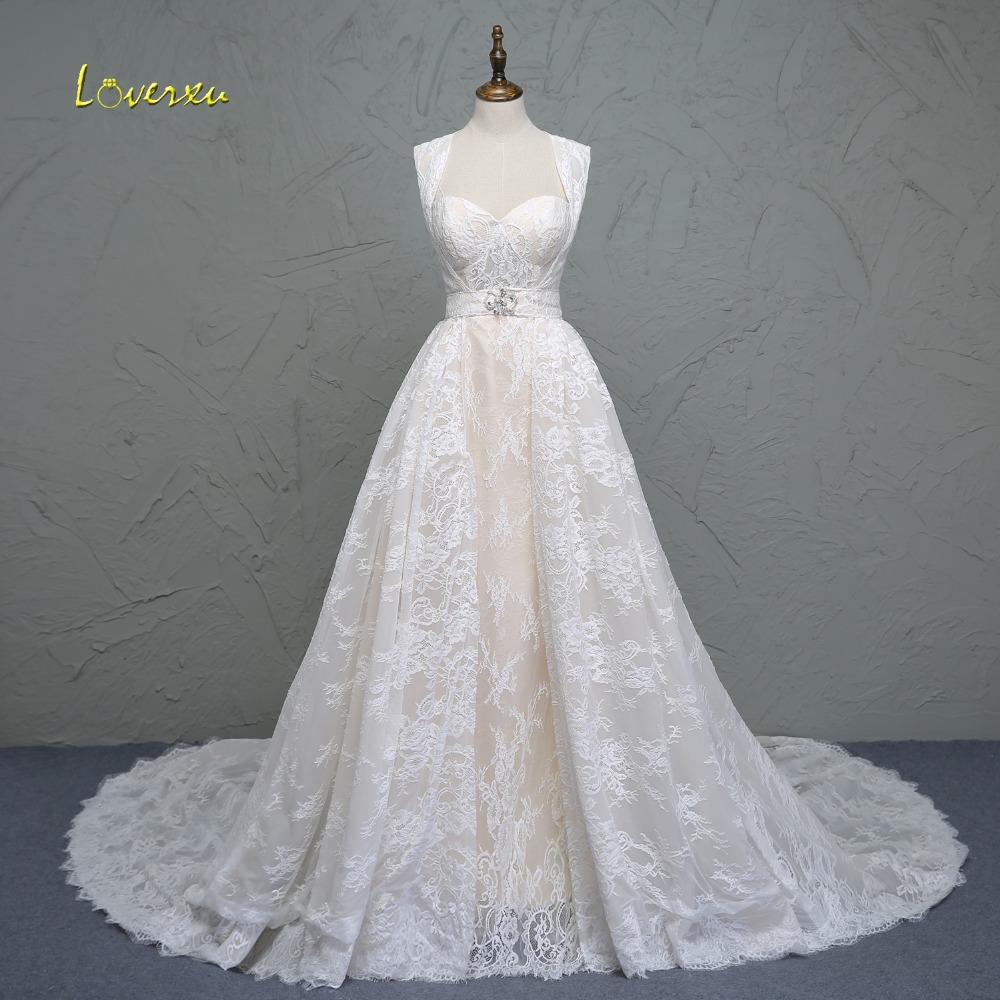 Loverxu New Fashionable Sweetheart Lace Detachable Train Wedding
