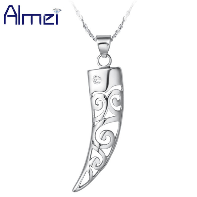 Wholesale Silver Animal Necklace Trendy Long Chain Jewelry CZ Zircon Fashion Cool Men/Woman Punk Wolf Tooth Necklace Colar N007