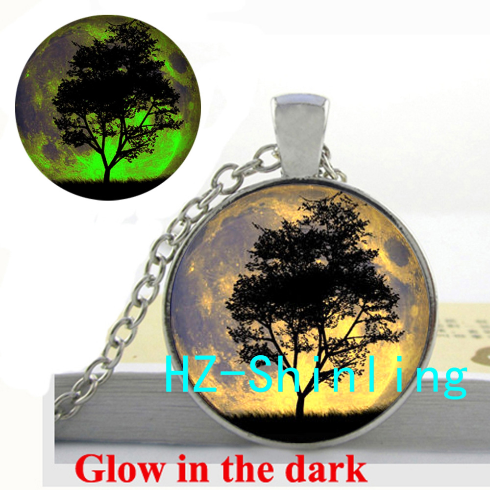 Glow in the Dark Moon and Tree Necklace Space and Tree Pendant Glass Jewelry Glowing Necklace Pendant