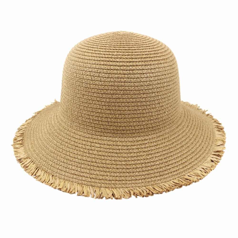 المرأة قبعة الشمس قبعة قش قابلة للطي UPF 50 حماية المضادة للأشعة فوق البنفسجية للأزياء الصيف قبعة للشاطئ 6 ألوان