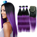 Predazzle8A Ombre Purple Straight Brazilian Virgin Hair with Closure 3 Bundles Human Hair Weave Tissage Bresilienne Avec Closure