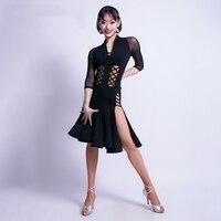 Latin Dance Sexy v neck Dress Women/Female adult Cha Cha/Rumba/Samba/Tango/Ballroom Dance Skirt Latin Performance Wear