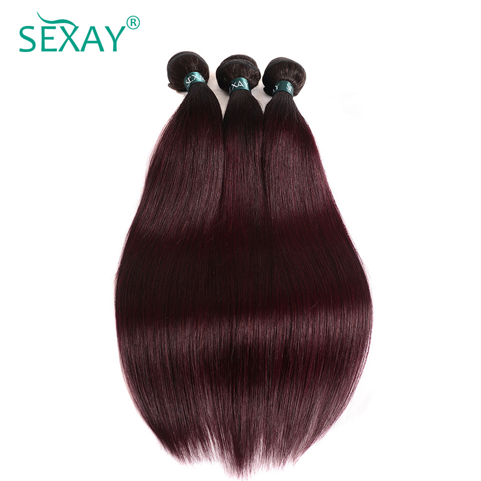 Sexay Ombre Brazilian Straight Human Hair Bundles 3 PCS Lot One Pack T1B/99J Burgundy Brazilian Hair Wine Red Pre-Colored Hair