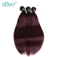 Sexay Ombre Brazilian Straight Human Hair Bundles 3 PCS Lot One Pack T1B/99J Burgundy Brazilian Hair Wine Red Pre Colored Hair