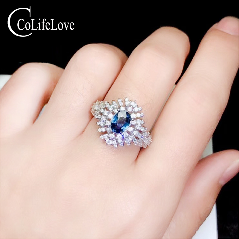 CoLife Jewelry 100% Real Natural Sapphire Ring for Party 5mm*7mm Sapphire Ring 925 Silver Sapphire Jewelry Girl Birthday GiftCoLife Jewelry 100% Real Natural Sapphire Ring for Party 5mm*7mm Sapphire Ring 925 Silver Sapphire Jewelry Girl Birthday Gift