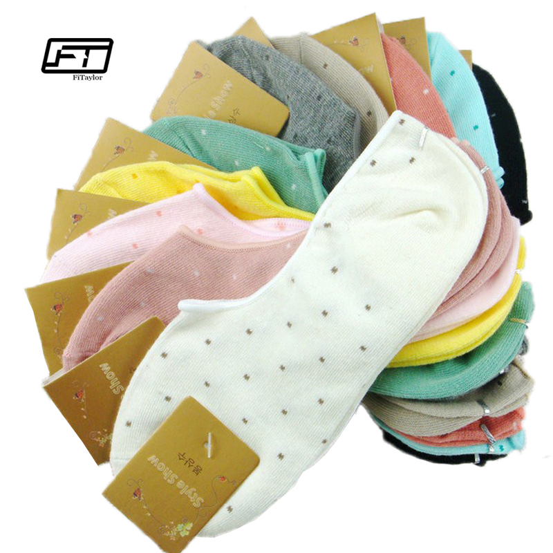 5 pairs=1 lot cotton invisible dot socks summer women thin candy color ankle socks free shipping