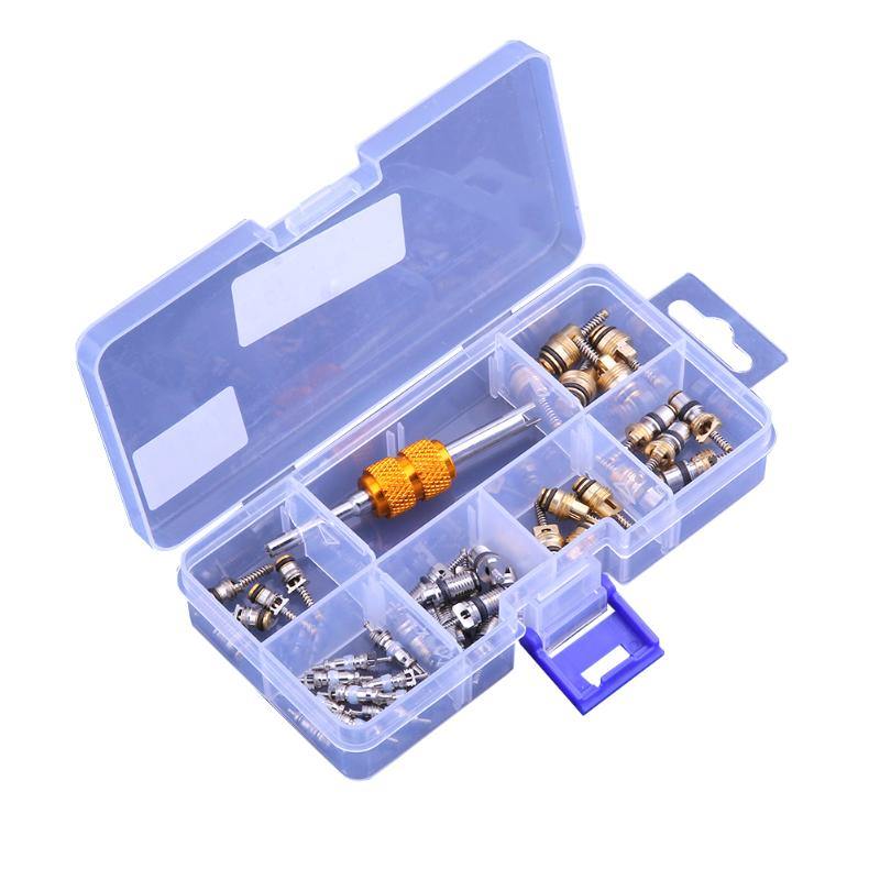 40pcs/box A/C R134A Car Auto Air Conditioning Tire Valve Cores+ Removal Tool For Toyota Honda Lexus GM Ford Chrysler Benz BTW цена