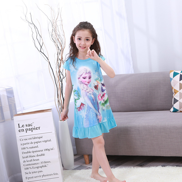 2017 Cartoon Anna Elsa 4-15Y Baby Girls Nightgown 100%Cotton Toddler  Sleepwear Pajamas Kids Girls Princess Dress Nightie Dress 194bb671a