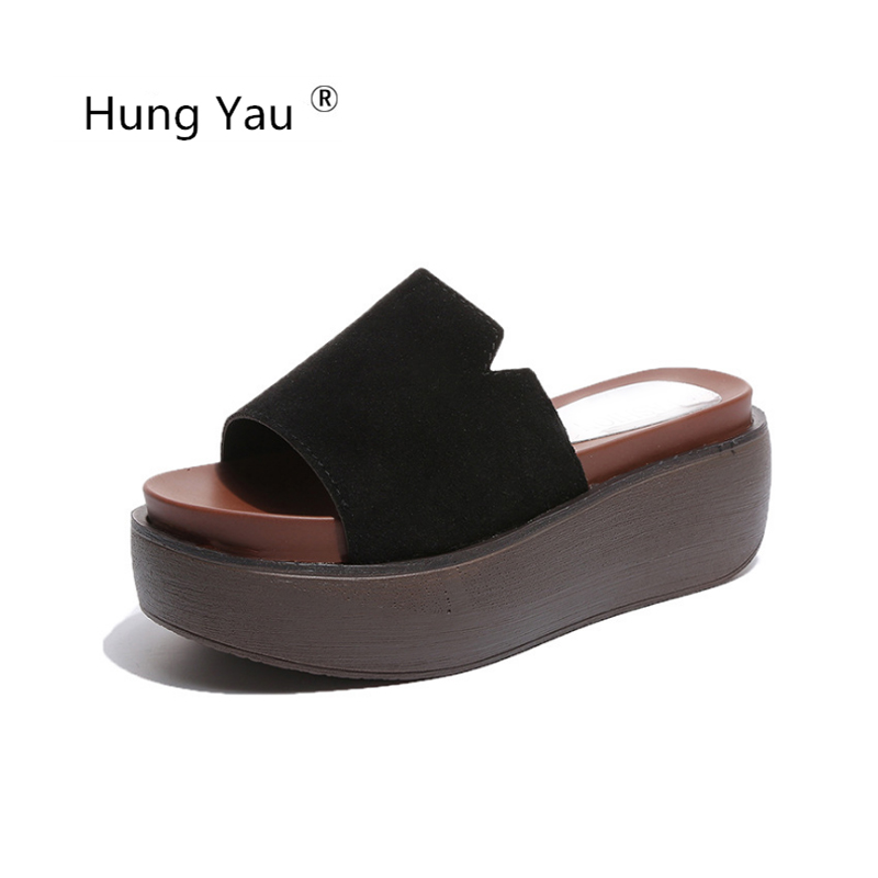 Hung Yau Shoes For Women Thick Bottom Creepers Female Slippers Wedges Summer Style Sandals Open Toe Flip Flops 5 Colors Size 39