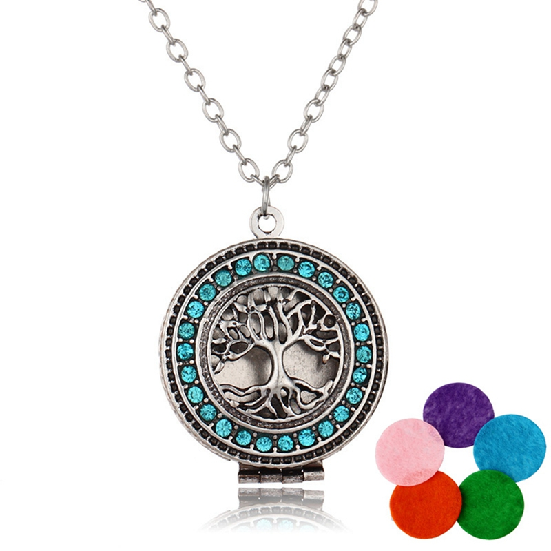 Tree Life Aromatherapy Essential Oil Chain Lockets Necklace