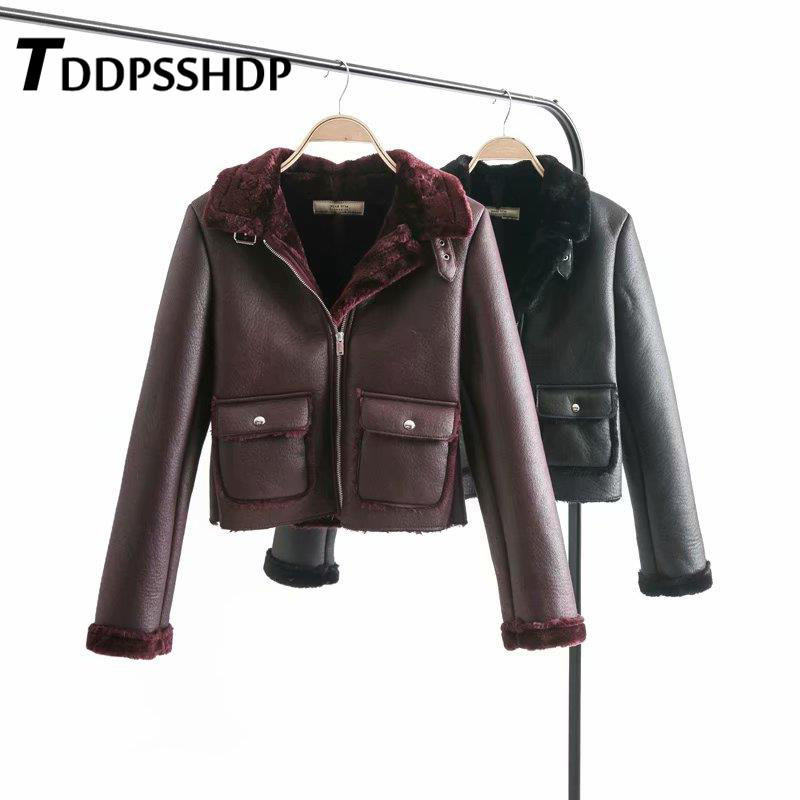 Furry Lining Women PU Clothing Faux   Leather   Zipper Solid Female Coats Outwear Chaquetas Mujer