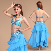 6 Colors Stage Performance Oriental Belly Dancing Clothes 3 Piece Suit Bead Bra Belt Skirt Belly