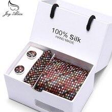 Joy Alice Mens Tie Geometric Silk Neck tie Classic Hanky Cufflinks Set Ties For Men Business Wedding Party gift box