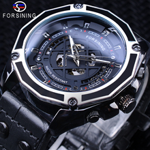 Forsining 2019 Military Sport Black Genuine Leather Belt Men's Automatic Skeleton Wristwatches Top Brand Luxury Luminous Hands цены онлайн