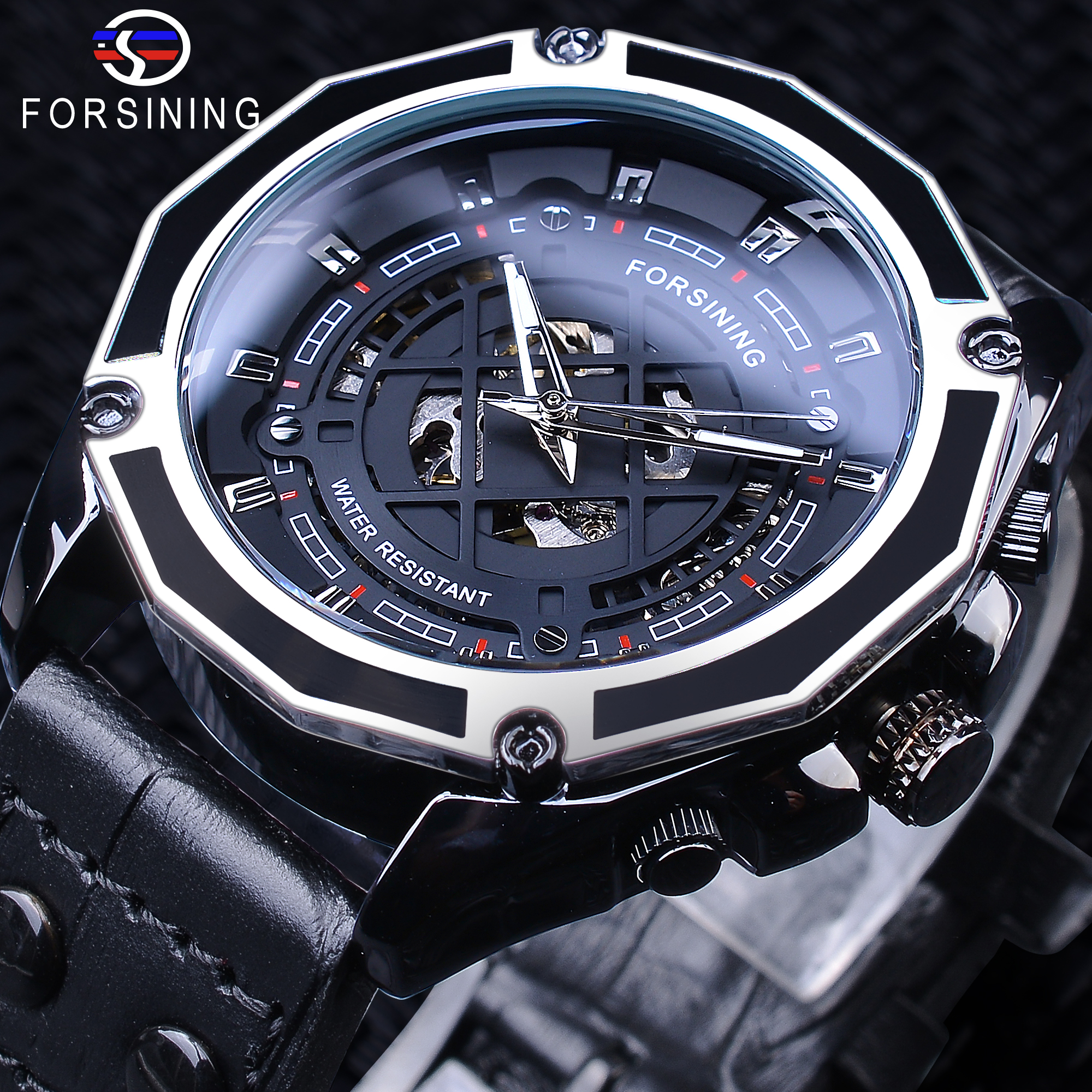 Forsining 2019 Military Sport Black Genuine Leather Belt Men's Automatic Skeleton Wristwatches Top Brand Luxury Luminous Hands