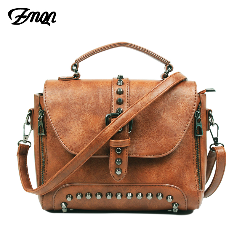 ZMQN Crossbody Bags For Women Messenger Bags 2019 Vintage Leather Bags Handbags Women Famous Brand Rivet Small Shoulder Sac A522
